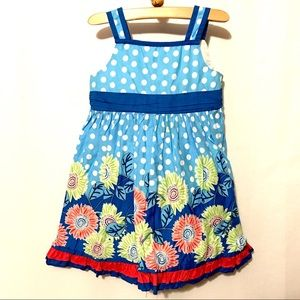 Blue floral with white polka dot dress